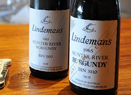 Close up of bottles of Bin 3100 and Bin 3110 Hunter River Burgundy